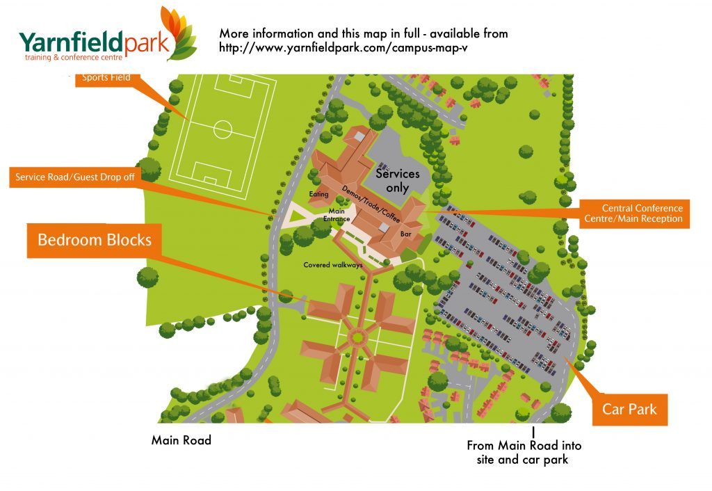 Map for the 2018 AWGB woodturning seminar at Yarnfield Park